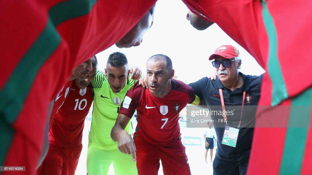 Madjer Of Portugal Speaks To The Team Before The Fifa Beach Soccer World Cup Bahamas