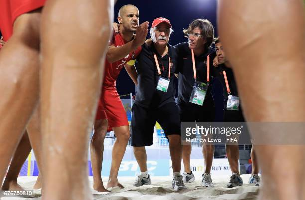 Madjer of Portugal talks to his team ahead of the FIFA Beach Soccer World Cup Bahamas 2017 group C match between United Arab Emirates and Portugal at...
