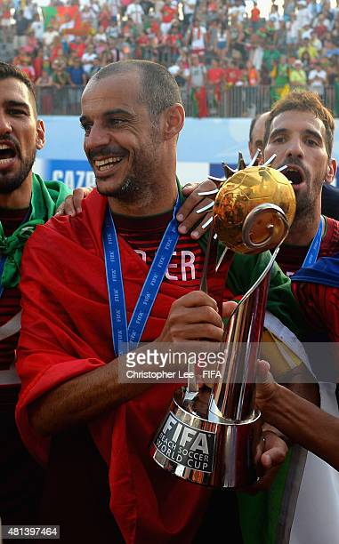 Madjer of Portugal with the World Cup Trophy during the FIFA Beach Soccer World Cup Final match between Tahiti and Portugal at Espinho Stadium on...