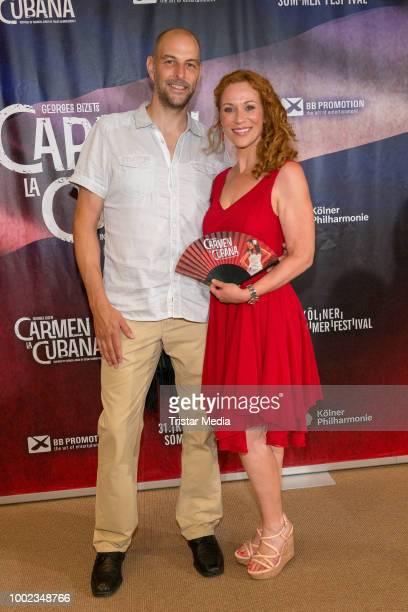 Madlen Kaniuth and her boyfriend Christian Becker attend the 'Carmen la Cubana' Musical premiere on July 19 2018 in Cologne Germany Kristina Yantsen