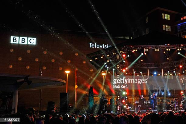 Madness perform at the closing party for the BBC Television Centre at BBC Television Centre on March 22 2013 in London England