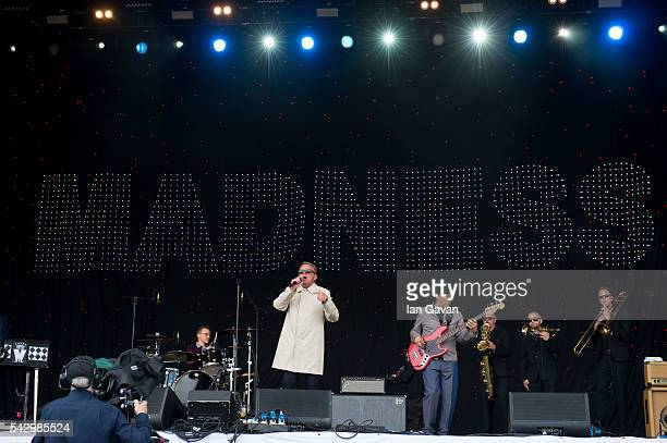 Madness' perform on the Pyramid Stage on day 2 of the Glastonbury Festival at Worthy Farm, Pilton on June 25, 2016 in Glastonbury, England. Now in...