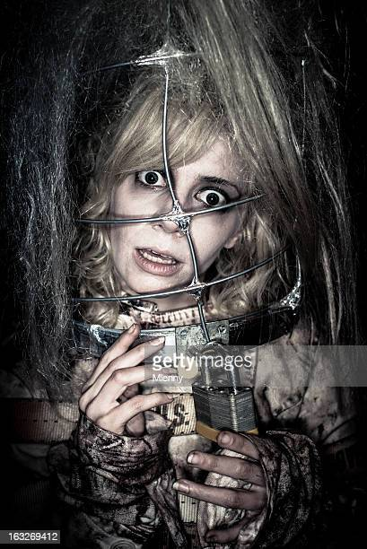 madness woman in straitjacket horror portrait - straight jacket stock pictures, royalty-free photos & images
