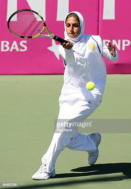 Madona Najarian of Iran plays a return shot to Galina Voskoboeva of Kazakhstan during day two of the Fed Cup Asia/Oceania Zone Group 1 2 match at the...