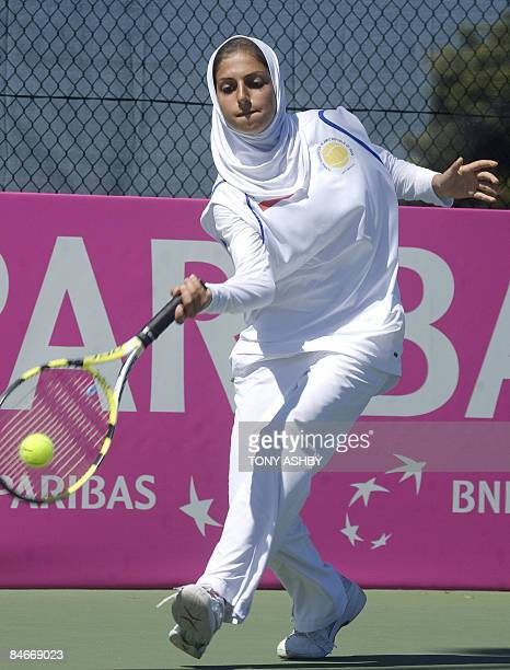 Madona Najarian of Iran serves against Galina Voskoboeva of Kazakhstan during their singles match of the Fed Cup in Perth on February 5 2009...