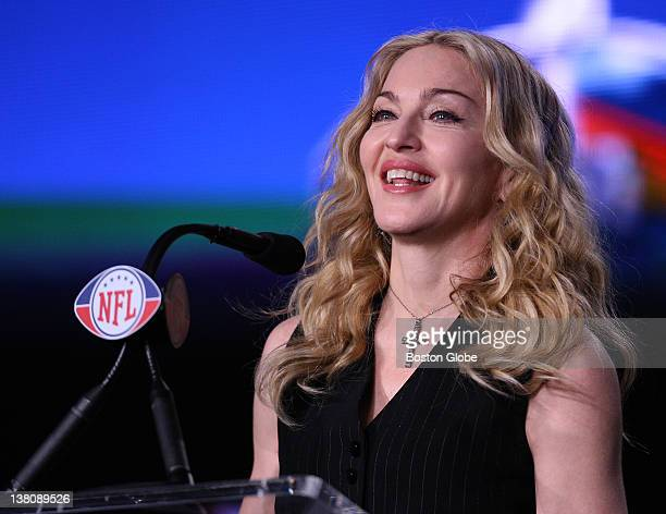 Madonna a multi Grammy Awardwinning recording artist who will perform during the Superbowl XLVI halftime show answers media questions on Thursday at...