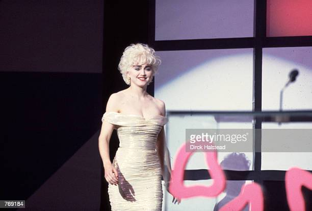Madonna accepts an award at the 1987 American Music Awards January 26 1987
