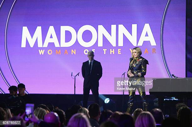 Madonna accepts an award onstage during the Billboard Women in Music 2016 event on December 9 2016 in New York City