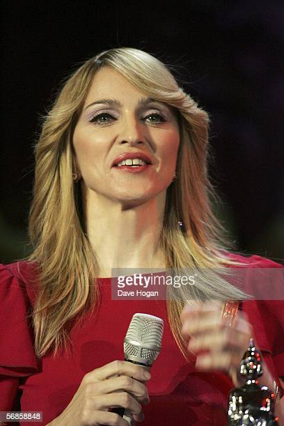 Madonna accepts the award for Best International Female Solo Artist on stage at The Brit Awards 2006 with MasterCard at Earls Court 1 on February 15...