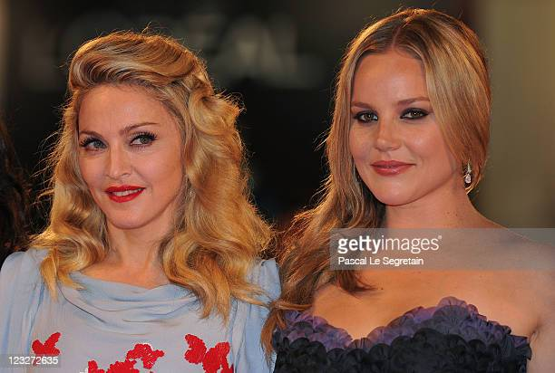 Madonna and Abbie Cornish attend the WE premiere at the Palazzo Del Cinema during the 68th Venice Film Festival on September 1 2011 in Venice Italy