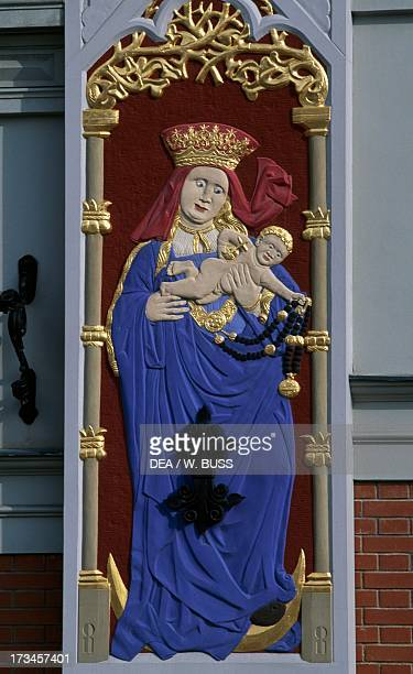 Madonna and Child decoration on the House of the Blackheads Riga Latvia