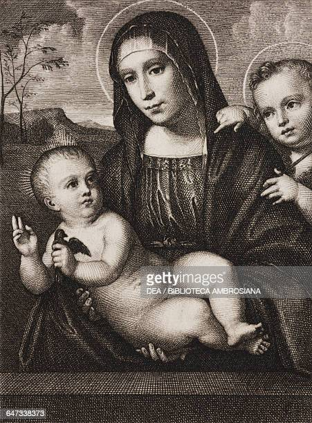 Madonna and Child engraving by Hugo Burkner based on a painting by Francesco Francia in Dresden Paris Rome Florence Montpellier by Leon Curmer 1863