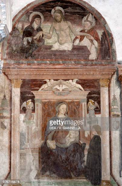 Madonna and Child Jesus risen from the sepulchre fresco in the church of Saint Bartholomew Albino Lombardy Italy 15th century