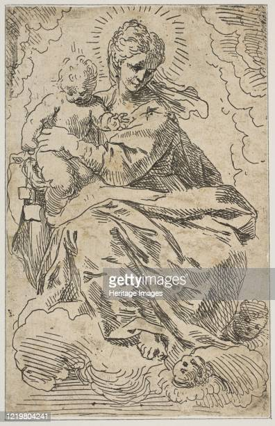 Madonna and Child on clouds, 17th century. Artist Attributed to Simone Cantarini .