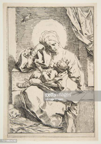 Madonna and Child with a bird, circa 1635-1636. Artist Simone Cantarini.