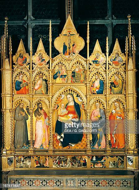 Madonna and Child with Saints by Giovanni del Biondo Rinuccini altarpiece 1379 Basilica of Santa Croce Florence Italy 14th century