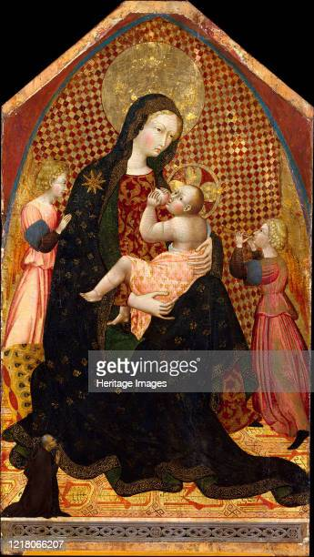 Madonna and Child with Two Angels and a Donor circa 1445 Artist Giovanni di Paolo