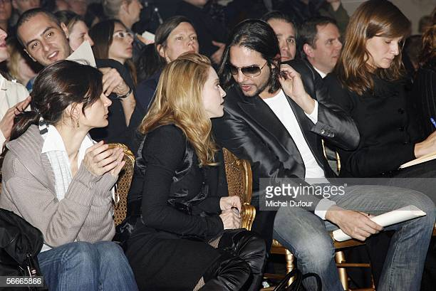 Madonna and dancer Joaquin Cortes are seen in conversation in the front row at the Jean Paul Gaultier fashion show as part of Paris Fashion Week...
