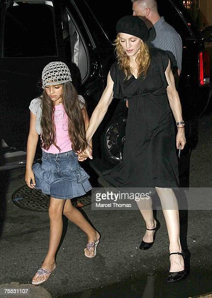 Madonna and daughter Lourdes at the Madonna Sighting in New York City June 23 2006 at Kabbalah Center in New York City New York