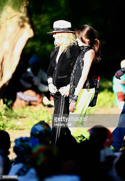 Madonna and daughter Lourdes attend a briefing at Chinkhota Village outside Lilongwe where a new school has been established with her backing on...