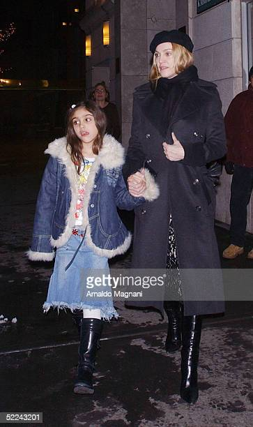 Madonna and daughter Lourdes leave the Kabbalah Centre February 25 2005 in New York City