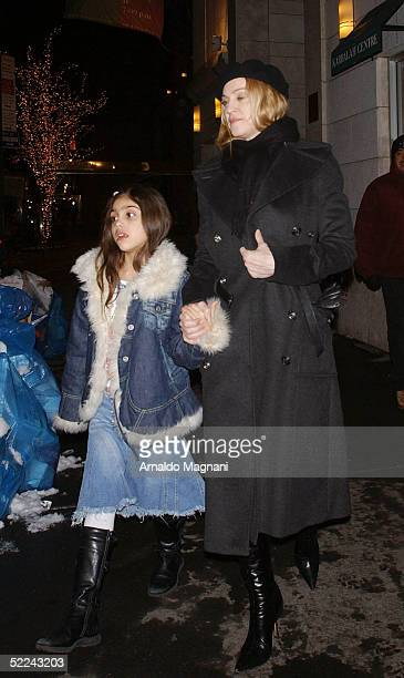 Madonna and daughter Lourdes leave the the Kabbalah Centre February 25 2005 in New York City
