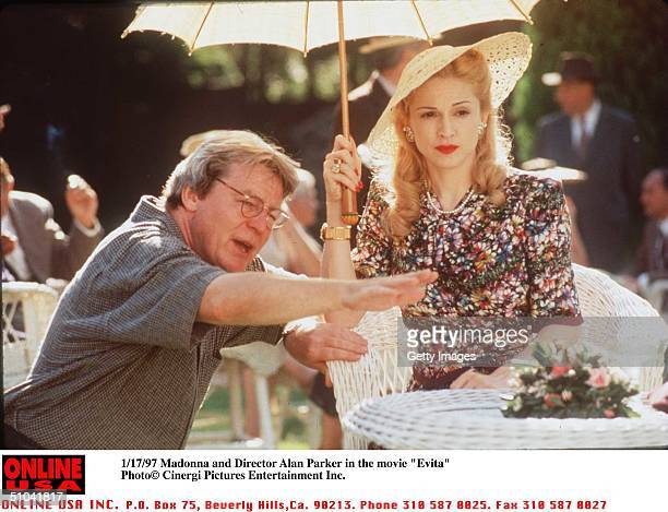 Madonna And Director Alan Parker In Her New Movie Evita