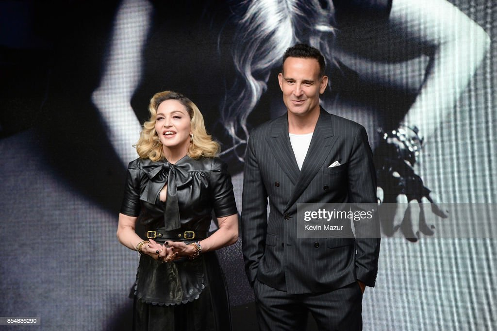Madonna and Dr Paul Jarrod Frank speak during the launch of the MDNA SKIN collection at Ludlow House on September 26, 2017 in New York City.