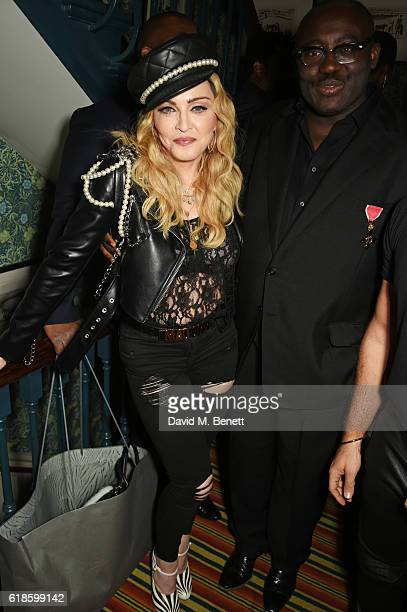 Madonna and Edward Enninful attend Edward Enninful's OBE dinner at Mark's Club on October 27 2016 in London England