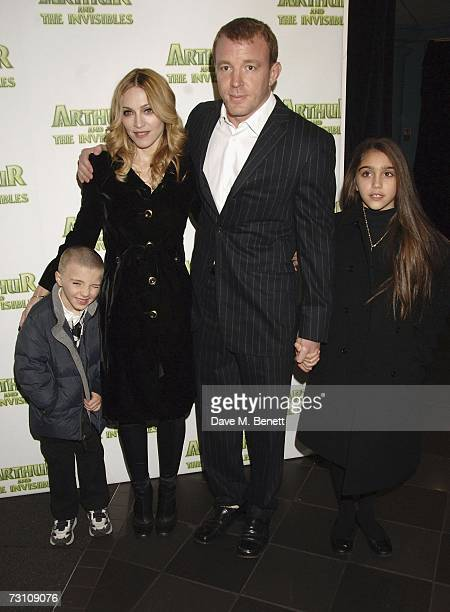 Madonna and Guy Ritchie with children Lourdes Maria Ciccone Leon and Rocco Ritchie arrive at the UK premiere of 'Arthur And The Invisibles' at Vue...