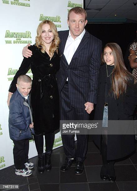 Madonna and Guy Ritchie with their children Rocco and Lourdes at the Vue Leicester Square in London United Kingdom