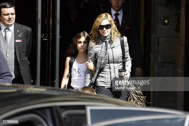 Madonna and her daughter Lourdes Maria Ciccone Leon leave the Crillon Hotel on September 1 2006 in Paris France