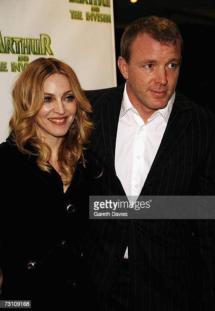 Madonna and her husband Guy Ritchie arrive at the UK premiere of Arthur And The Invisibles at Vue cinema Leicester Square on January 25 2007 in...