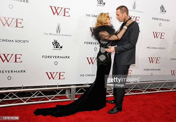 Madonna and James D'Arcy attend The Weinstein Company with The Cinema Society Forevermark premiere of 'WE' at the Ziegfeld Theater on January 23 2012...