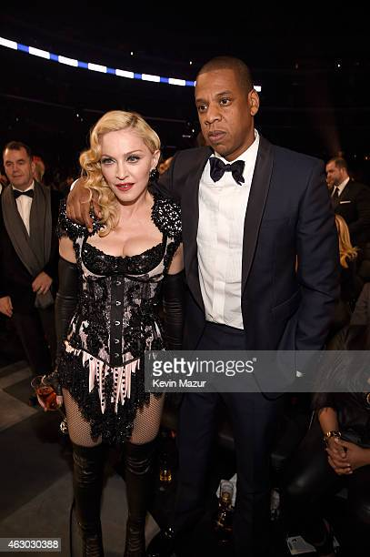 Madonna and Jay Z attend The 57th Annual GRAMMY Awards at STAPLES Center on February 8 2015 in Los Angeles California