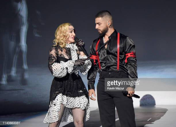 Madonna and Maluma perform onstage during the 2019 Billboard Music Awards at MGM Grand Garden Arena on May 1, 2019 in Las Vegas, Nevada.