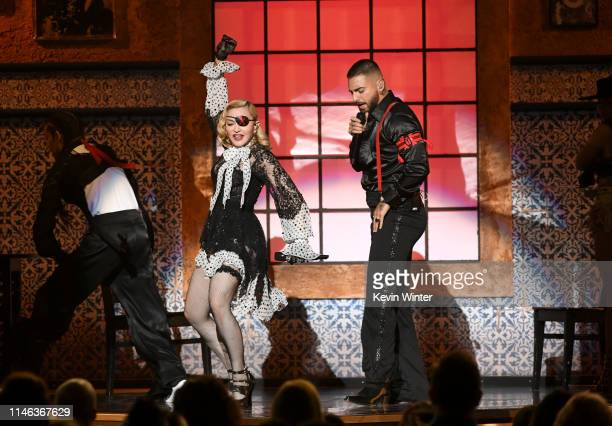 Madonna and Maluma perform onstage during the 2019 Billboard Music Awards at MGM Grand Garden Arena on May 01 2019 in Las Vegas Nevada