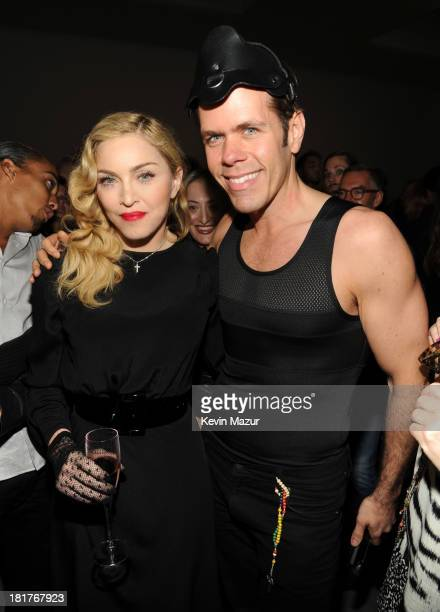 Madonna and Perez Hilton attend Madonna and Steven Klein secretprojectrevolution at the Gagosian Gallery on September 24 2013 in New York City