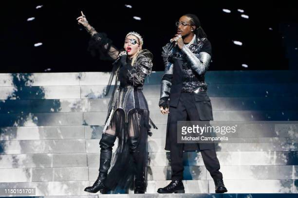 Madonna and Quavo perform live on stage after the 64th annual Eurovision Song Contest held at Tel Aviv Fairgrounds on May 18 2019 in Tel Aviv Israel
