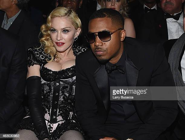 Madonna and rapper Nas attend The 57th Annual GRAMMY Awards at the STAPLES Center on February 8 2015 in Los Angeles California