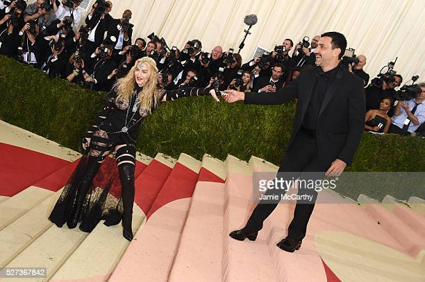 Madonna and Riccardo Tisci attend the 'Manus x Machina Fashion In An Age Of Technology' Costume Institute Gala at Metropolitan Museum of Art on May 2...
