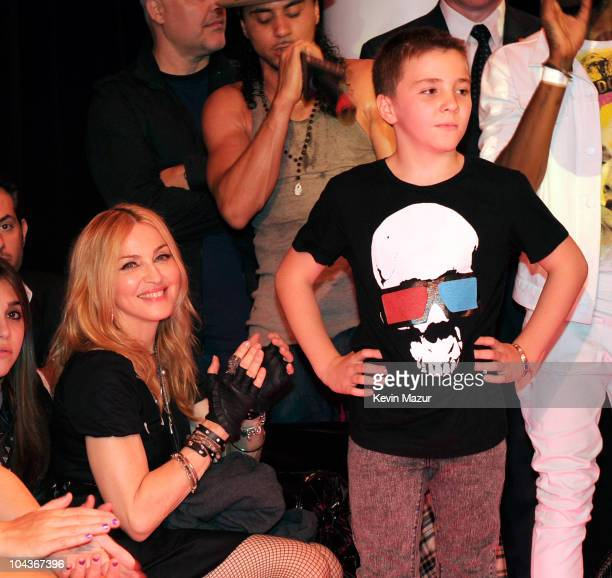 Madonna and Rocco Richie attend the launch of 'Material Girl' at Macy's Herald Square on September 22 2010 in New York City