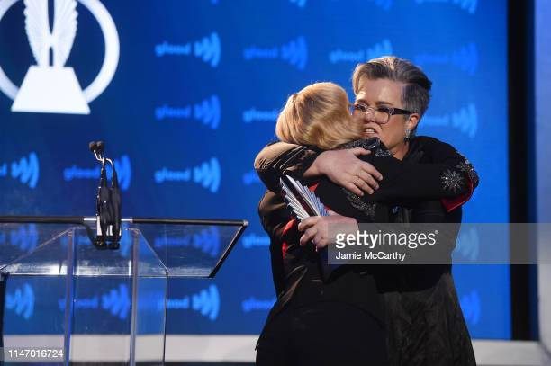 Madonna and Rosie O'Donnell embrace on stage during the 30th Annual GLAAD Media Awards New York at New York Hilton Midtown on May 04 2019 in New York...