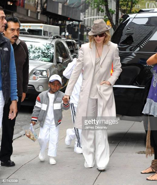 Madonna and son David Banda arrive to the Kabbalah Center in Manhattan on May 16 2009 in New York City