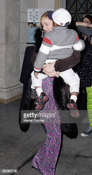 Madonna and son David Banda attend Kaballah services in Manhattan on March 6 2009 in New York City