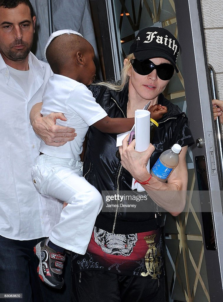Madonna and son David seen on the streets of Manhattan on October 1, 2008 in New York City.