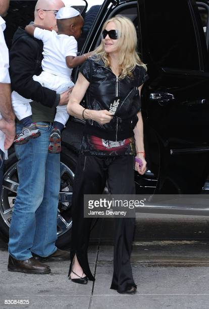 Madonna and son David seen on the streets of Manhattan on October 1 2008 in New York City
