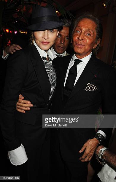 Madonna and Valentino Garavani attend the Diane Von Furstenberg and Claridge's launch party at Claridge's on June 23 2010 in London England