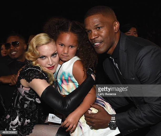 Madonna Annalise Bishop and actor Jamie Foxx attend The 57th Annual GRAMMY Awards at the STAPLES Center on February 8 2015 in Los Angeles California