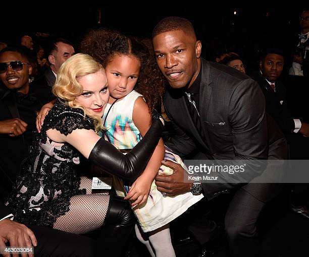 Madonna Annalise Bishop and Jamie Foxx attend The 57th Annual GRAMMY Awards at STAPLES Center on February 8 2015 in Los Angeles California